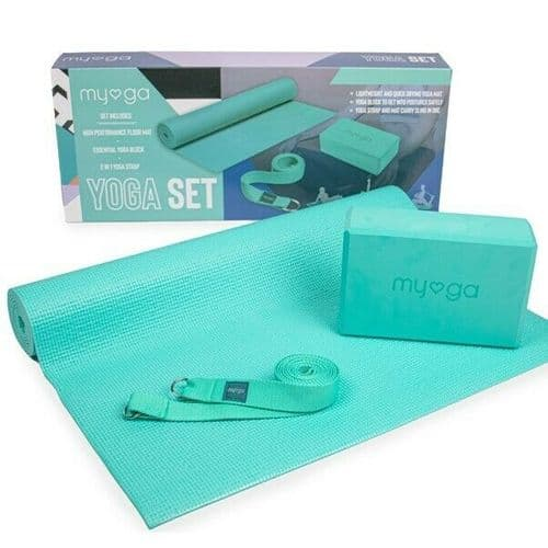 MYGA Yoga Starter Kit Yoga Mat, Block and Strap Turquoise Pilates Workout Gym